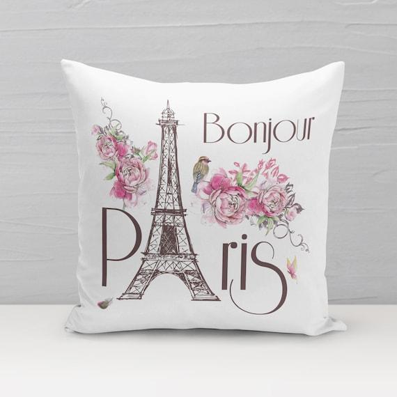 Eiffelturm Kissen, Bonjour Paris, Dekokissen, Kissen mit Füllung, Kissenbezug, 40x40, Geschenk zum Einzug