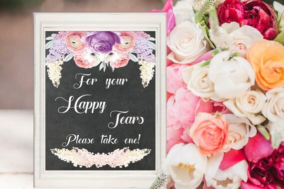 Hochzeit Deko, Freudentränen Tafel Schild, Purple-Lavender, Kreidetafel Dekoschild, Hochzeitsdeko, Digital, Sofort Download, druckbar