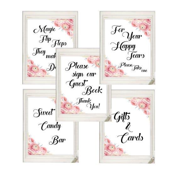 Hochzeit Schilder Set, Süßigkeiten Bar, Freudentränen, Flip Flops, Geschenke und Karten, Gästebuch, Set von 5, Digitaldruck, Sofortdownload