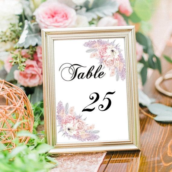 Druckbare Tischnummern, Hochzeit Tischnummer, Hochzeitsdeko, Tischdeko, Tischnummer Karten, Editierbare PDF Vorlagen, 4x6 Karten, 5x7 Nummer