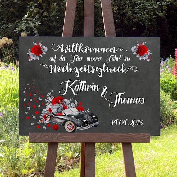 Hochzeitsschild Fahrt ins Glück, Hochzeitsdeko, Willkommensschild, Oldtimer Hochzeit, Willkommen Poster, Verlobung, Jahrestag, Geburtstag