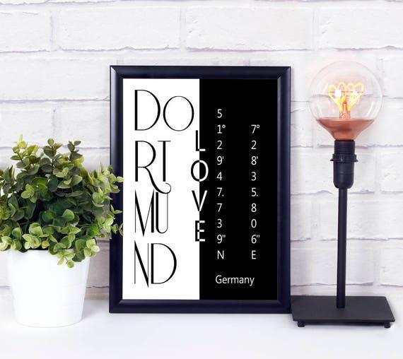 Stadt Koordinaten Druck, Dortmund Koordinaten Poster, Stadtliebe, Digitaldruck, Geschenk zum Einzug, Stadt Poster, Dekoration, Wandkunst