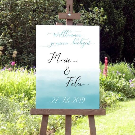 Hochzeitsschild Aqua, Willkommen zur Hochzeit, Strandhochzeit, Strand Hochzeitsdeko, Maritime Hochzeit, Aquarell Ombre Schild, DIY Hochzeit
