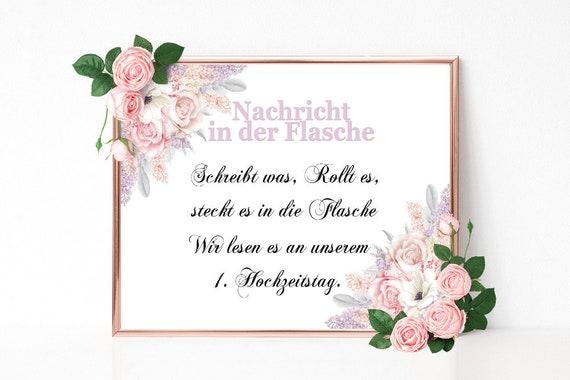 Gästebuch Schild, Flaschenpost Schild, Hochzeitsschild drucken, Hochzeit Gästebuch, Florale Hochzeit, Alternatives Gästebuch, Empfang