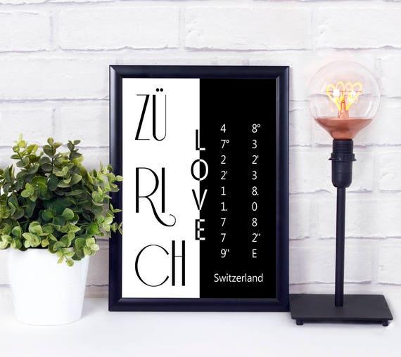 Zürich Koordinaten Poster, Stadtliebe Print, Wandkunst, druckbares Poster, Digitaldruck, Geschenk zur Einweihung, Wohndeko, Wanddeko