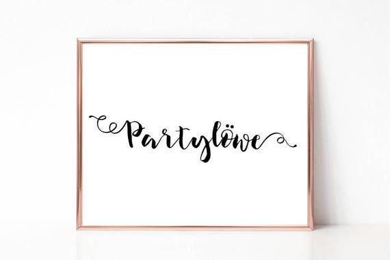 Partylöwe Poster, Druckbares Poster, Wortkunst, Wandkunst, Download Wandbild, Typografie, Wohndekor, Wort Poster, Print, Instant Download