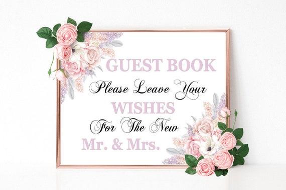 Gästebuch Schild, Wishes, Hochzeitsschild drucken, Mr. and Mrs. Hochzeitsdeko, Empfang Dekoschild, Gästebuch Hochzeit Schild, Download