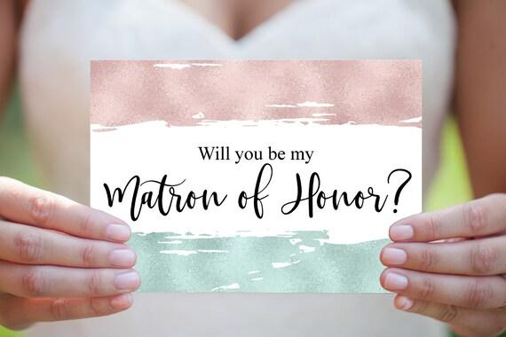 Matrone der Ehre Vorschlag, Hochzeitskarte, druckbare Einladung, DIY Hochzeit, Sofort Download, Moderne Hochzeitseinladung