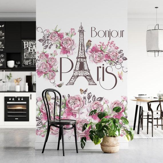 Bonjour Paris Tapete, Glattvlies, Vliestapete, Eifelturm, Rosen, 2 Meter, 50 cm Bahnbreite
