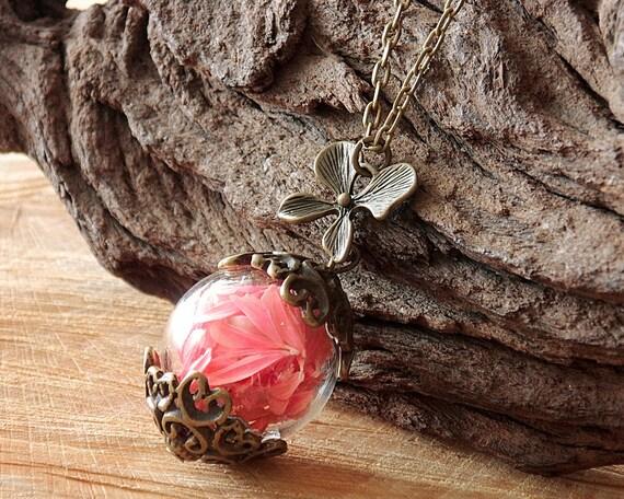 Pinke Blüten Halskette, echte Blüten Kette, Blumenschmuck, Naturschmuck, Boho Kette, Florale Kette, Beste Freundin, Schwester, Sommer Kette