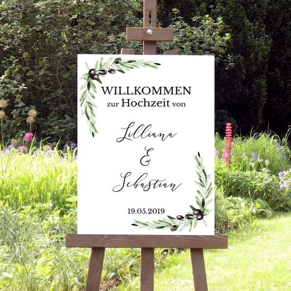 Oliven Hochzeit Willkommensschild, Hochzeitsschild, Grüne Hochzeit Poster, Botanische Hochzeit, Olivenzweige, Empfang, Mediterrane Hochzeit