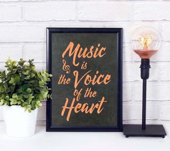 Musik ist die Stimme des Herzens, Industrielle Wandkunst, Kupfer Tafel Kunstdruck, Typografie Poster, Moderne Wortkunst, Industrial Design