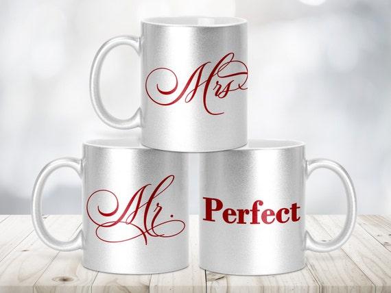 Mr und Mrs Glitzertasse Silber-Metallic, Tasse einzeln und Set, Schriftfarbe rot und schwarz