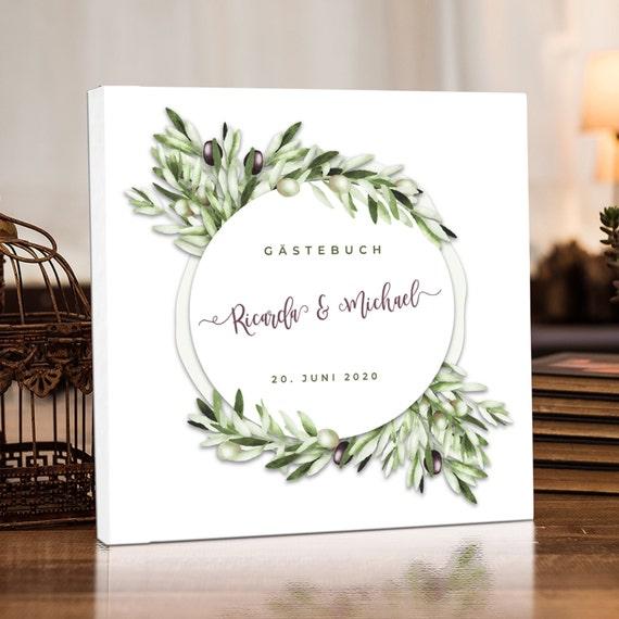 Gästebuch Hochzeit, Personalisiert, Oliven Hochzeitsgästebuch,Greenery  Hochzeitsalbum, Fotoalbum, Erinnerungsalbum