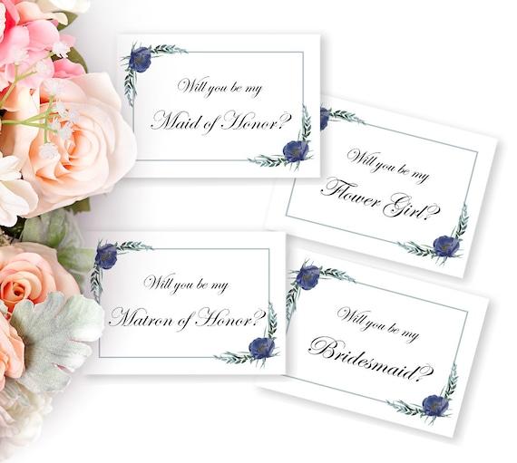 Hochzeitskarten Set, Brautjungfer, Trauzeugin, Blumenmädchen, Einladung, DIY Hochzeit, Braut Vorschlag, druckbare Vorlage, Digital Download
