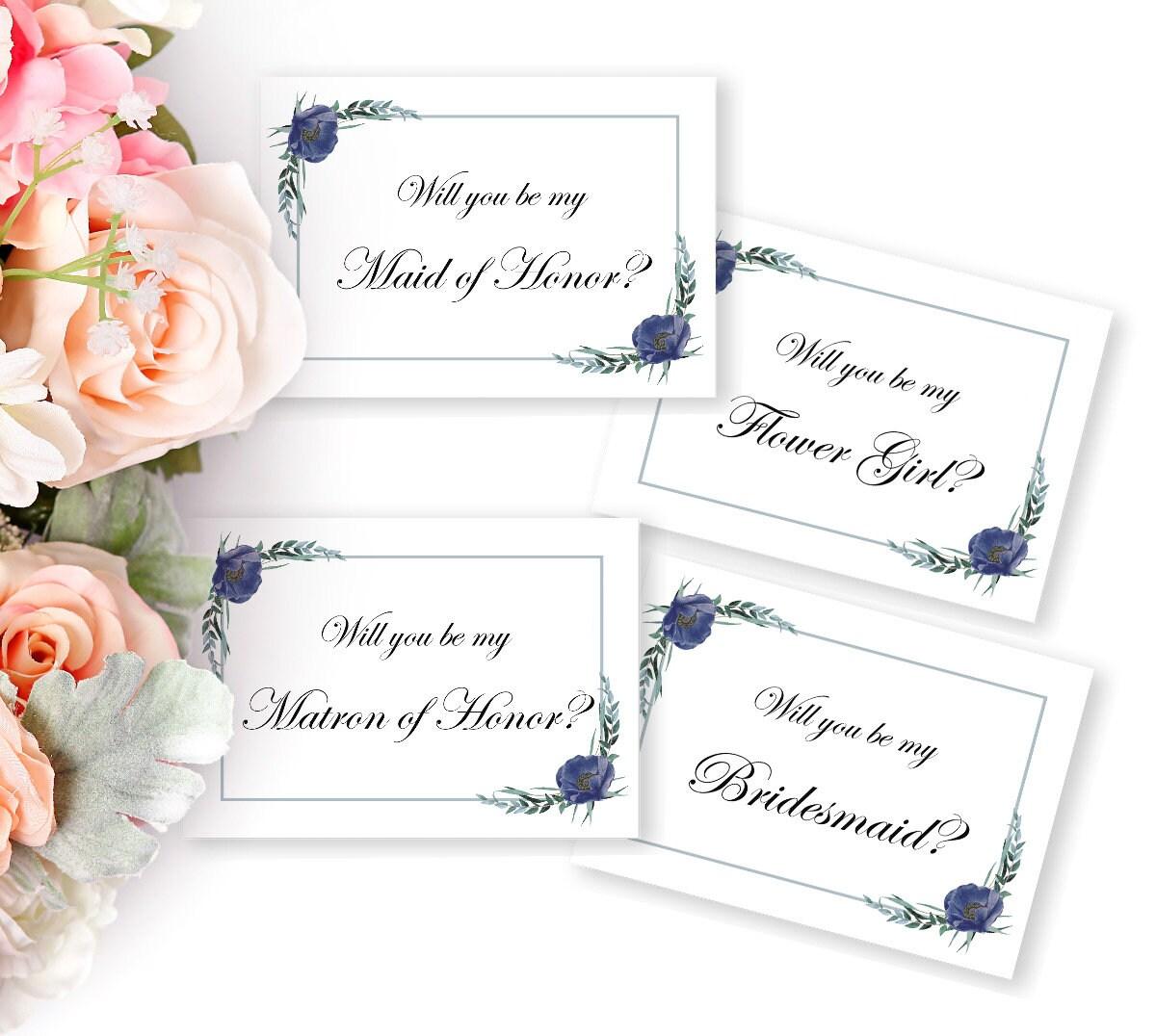 Hochzeitskarten Set, Brautjungfer, Trauzeugin, Blumenmädchen ...