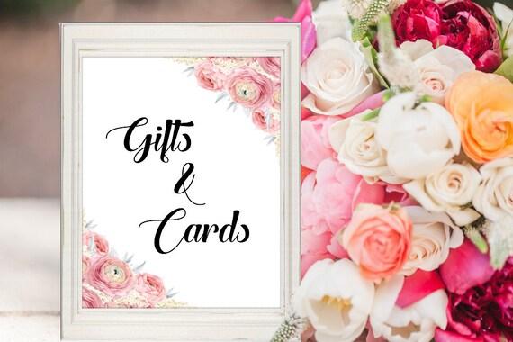 Geschenke und Karten Schild, Druckbares Hochzeit Schild, Download, Geschenketisch Dekoration, Hochzeitsschild