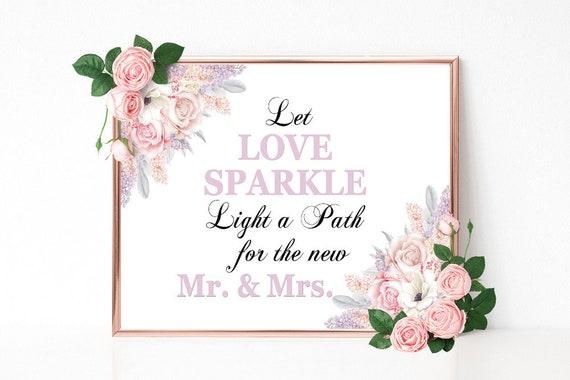 Let Love Sparkle, Wunderkerzen Schild, Hochzeitsschild drucken, Hochzeitsdeko, Party Schild, Empfang, Bridal Shower, Geburtstag, Mr and Mrs