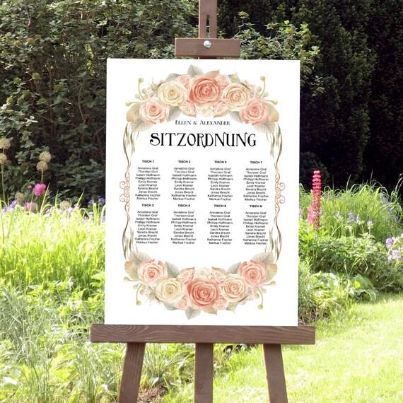 Sitzplan Hochzeit, Tischplan, Sitzordung Hochzeitsschild, editierbare PDF Vorlage, Hochzeitsplan, Sofort Download