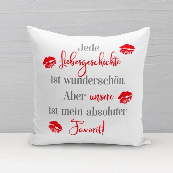 Dekokissen Liebesgeschichte, Kissen 40x40, Sofa Kissen, Geschenk aus Liebe