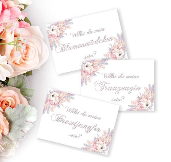 Hochzeitskarten Set, Brautjungfer, Trauzeugin, Blumenmädchen, Vorschlag Einladung, Hochzeitseinladung, DIY Hochzeit, Sofort Download