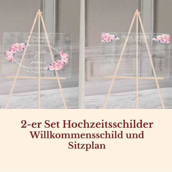 Hochzeitsschilder Acrylglas personalisiert, 2-er Set, Willkommensschild und Sitzplan