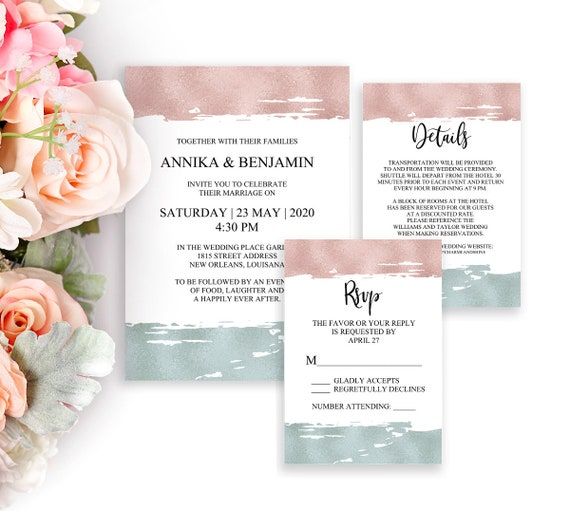 Hochzeitseinladung Set, Einladungskarte, RSVP Karte, Detail Karte, Hochzeitskarten, Editierbare Einladung, PDF Vorlagen, moderne Hochzeit