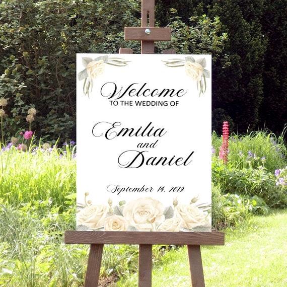 Hochzeitsschild, Willkommensschild Hochzeit, Druckbares Hochzeit Schild, Weiße Blüten, Florale Hochzeit, DIY Hochzeit, Hochzeitsdeko
