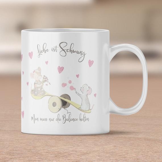 Liebe ist Schwung, Sprüche Tasse, Spruch Liebe, Kaffeetasse, Kaffeebecher, Teetasse, Geschenk, Valentinstag, Geschenkidee