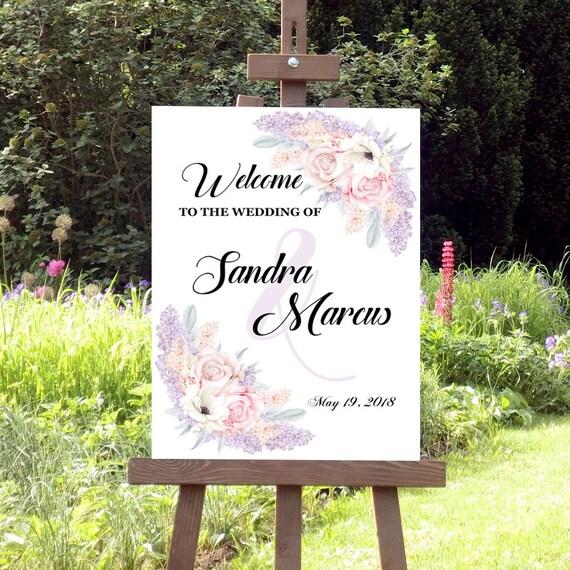 Flieder Hochzeitsschild, Willkommen zur Hochzeit, Willkommensschild, Schild personalisiert, Hochzeitsdeko, Brautpaar, Poster, Leinwand
