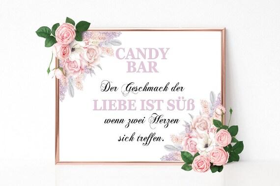 Candy Bar Schild, Liebe ist süß, Hochzeitsschild, Hochzeitsdeko, Geburtstag, Bridal Shower, Hochzeit, Candy Buffet Schild, PDF Download