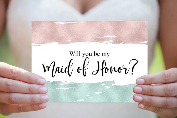 Trauzeugin Vorschlag, Willst du meine Trauzeugin sein, Hochzeitskarte, Hochzeitseinladung, Moderne DIY Hochzeit, druckbare Vorlage