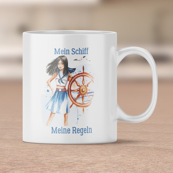 Kapitänin Tasse, Kaffeebecher, Kaffeetasse, Teetasse, Becher, Spruch Tasse