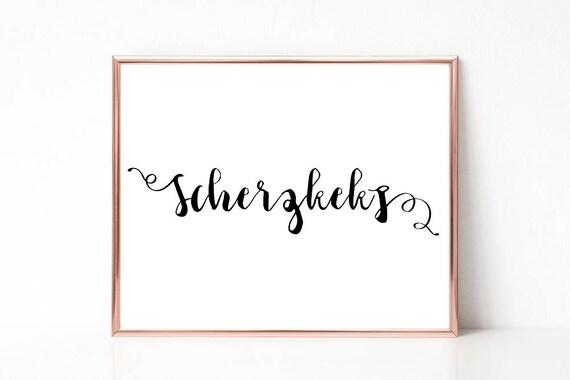 Scherzkeks Poster, Digitaldruck, Deutsches Wort Poster, druckbares Schild, Wandkunst, Wortkunst, Wohndekor, Sofort Download, Lustiges Wort