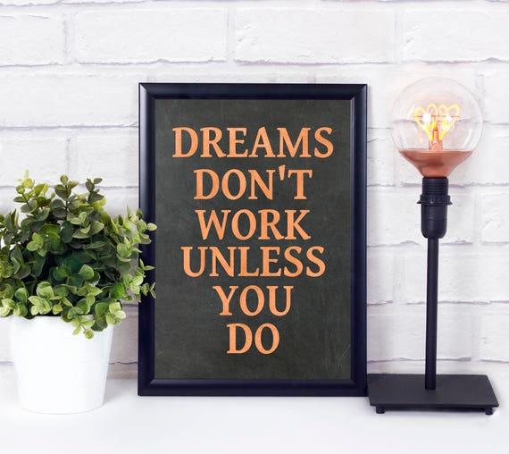 Träume funktionieren nicht, Industrial Kunstdruck, Kupfer, Tafel, Typograpfie Poster, industrielle Kunst Design, moderne Wortkunst, Digital