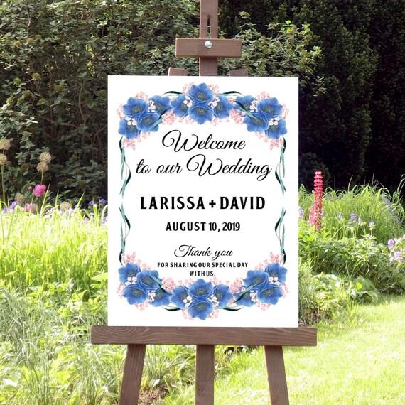 Hochzeitsschild, Willkommen Hochzeit Schild, Druckbares Willkommensschild, Digitale Hochzeitsdeko, Wildblumen, blaue Büten
