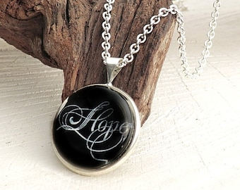 Hope Cabochon Necklace, Hope Pendant, Words Writing, Glass Dome Necklace, Sister Gift