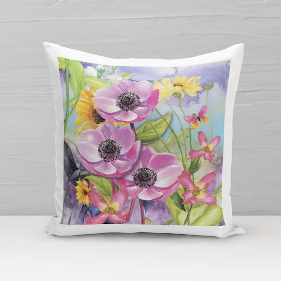 Deko-Kissen, Blumenwiese A, Kissenbezug, Kissen mit Füllung, Blumen Kissen, 40x40