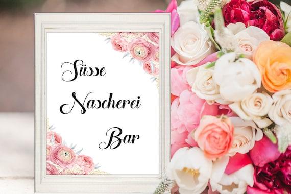 Süsse Nascherei Bar Schild, Süssigkeiten Bar Schild, Hochzeit Deko Schild, Hochzeitsschild Deutsch, Digitaldruck, Sofort-Download