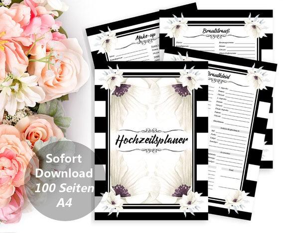 Druckbarer Hochzeitsplaner, DIY Planer Buch, Hochzeit Plan, JGA Organizer, Polterabend, Geschenk für Braut, Verlobung, Digital, PDF, A4