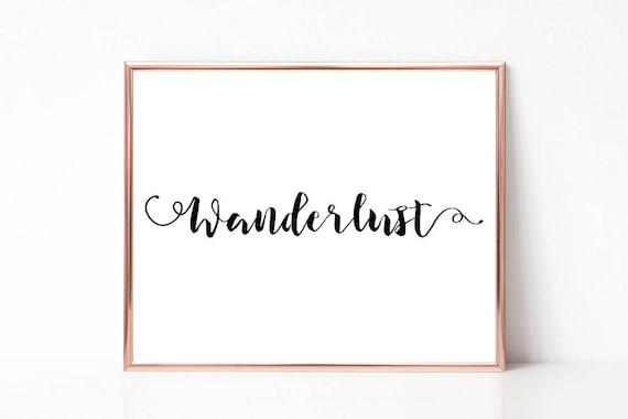 Wanderlust Druck, Druckbare Wandkunst, Moderne Wort Kunst, Typografie Poster, Sofort Download, Wortkunst Digitaldruck