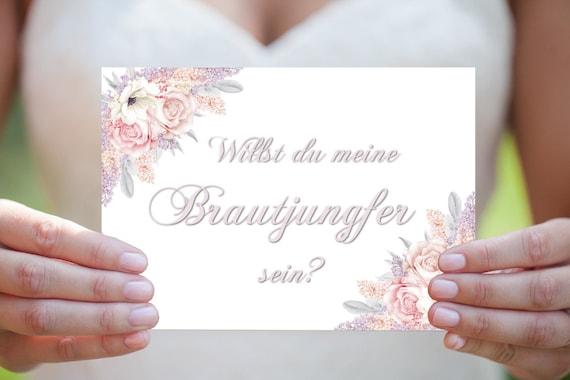 Brautjungfer Karte, Vorschlag Brautjungfer, Einladung Hochzeit, DIY Hochzeit, Druckbare Einladung, Digital Download, Hochzeitskarte
