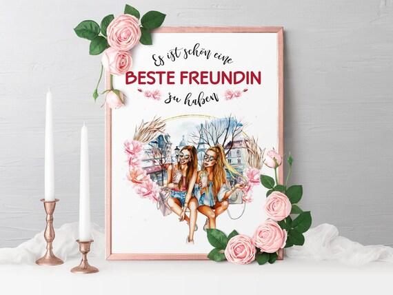 Poster Beste Freundin, Geschenk, Bild, A4, A3