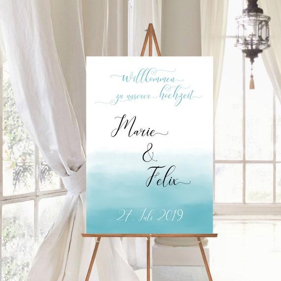 Hochzeitsschild Aqua, Willkommen zur Hochzeit, Strandhochzeit personalisiert, Strand Hochzeitsdeko, Maritim