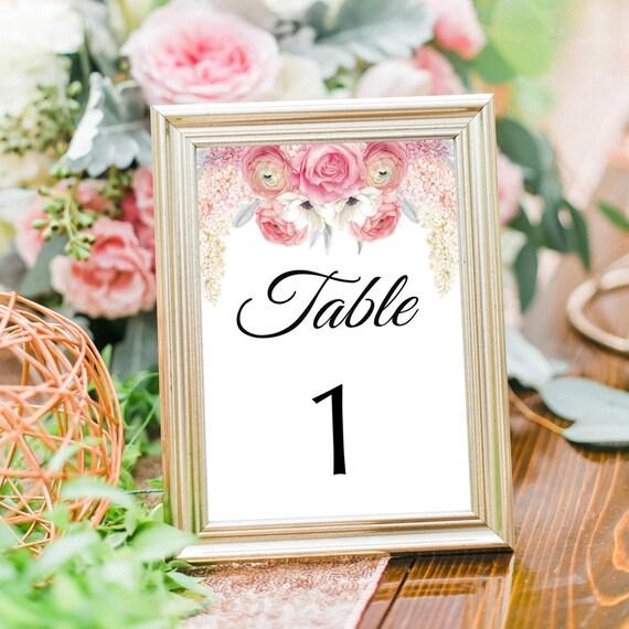 Hochzeit Tischnummern, druckbare Tischnummern, editierbare PDF Vorlage, 4x6, 5x7, Empfang Tisch Nummer, DIY Hochzeit Deko, Sofort Download