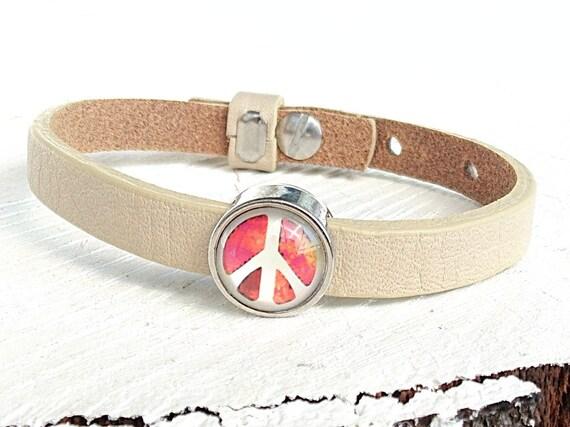 Lederarmband Peace, Armband Cuoio Leder, Glas Cabochon