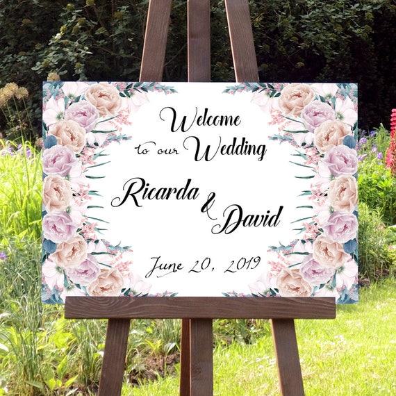 Willkommen Hochzeitsschild, Willkommenschild, Hochzeit Poster, Hochzeitsdeko, Leinwand, Verlobung, Geburtstag, Jahrestag, Personalisiert