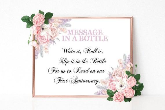 Message in a Bottle, Hochzeitsschild drucken, Hochzeitsdeko, Gästebuch Schild, Florale Hochzeit, Alternatives Gästebuch, Dekoschild, PDF