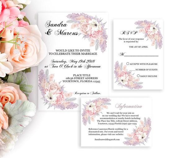 Einladung Hochzeit Set, Hochzeitseinladung, Druckbare Einladung, RSVP, Details, Editierbare PDF Vorlage, DIY Hochzeit, Florale Einladung