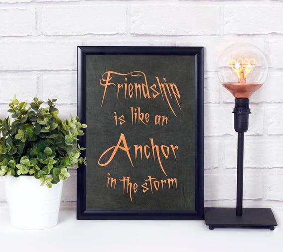Freundschaft ist wie ein Anker, Digitale Wandkunst, Sprüche Poster, Zitate Kunstdruck, Kupfer, Tafel, Wortkunst, Wohndeko, Sofort Download
